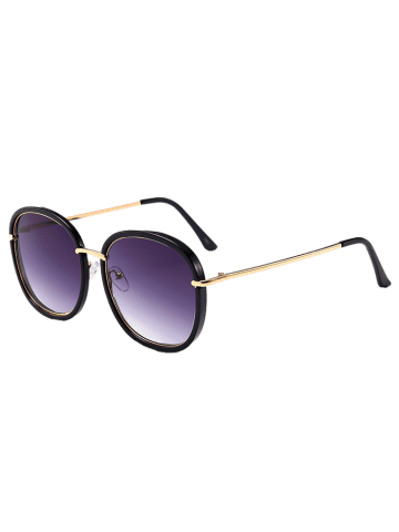 Outfit Metal Inlay Frame UV Protaction Sunglasses - BLACK FRAME+GREY LENS  Mobile