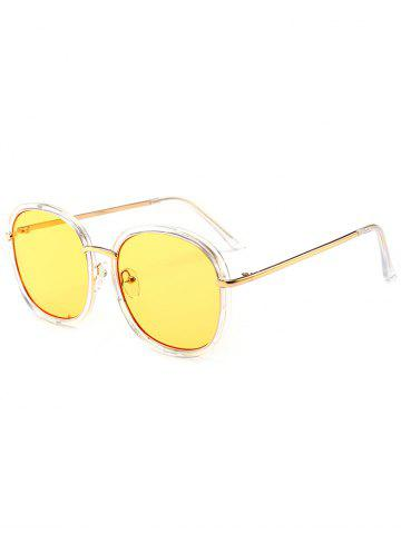 Buy Mirrored Metallic Inlay Frame UV Protection Sunglasses YELLOW