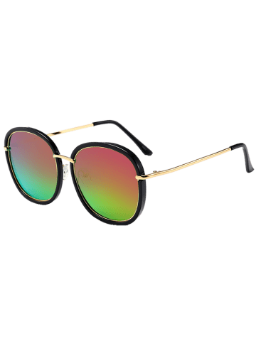 Affordable Mirrored Metallic Inlay Frame UV Protection Sunglasses - BLACKISH GREEN+PURPLE  Mobile
