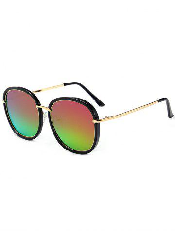 Online Mirrored Metallic Inlay Frame UV Protection Sunglasses - BLACKISH GREEN+PURPLE  Mobile