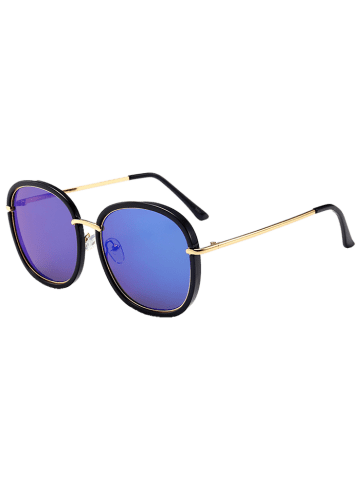 Fancy Mirrored Metallic Inlay Frame UV Protection Sunglasses - BLUE  Mobile