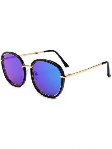 Outfit Mirrored Metallic Inlay Frame UV Protection Sunglasses BLACK+BLUE+GREEN