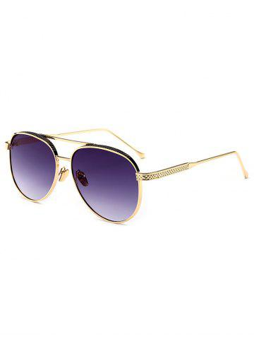 Discount Double Metal Crossbar Anti UV Pilot Sunglasses - GOLD FRAME+GREY LENS  Mobile