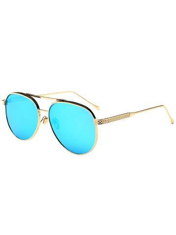 Best Double Metallic Crossbar Reflective Pilot Sunglasses - ICE BLUE  Mobile