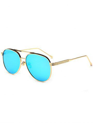 Outfits Double Metallic Crossbar Reflective Pilot Sunglasses - ICE BLUE  Mobile