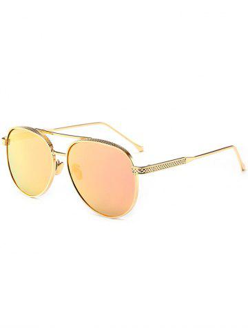 Outfit Double Metallic Crossbar Reflective Pilot Sunglasses - GLOD FRAME + PINK LENS  Mobile