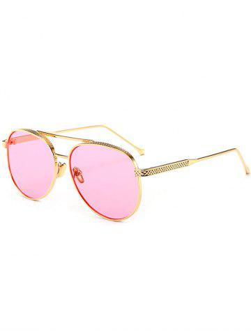 Online Double Metallic Crossbar Reflective Pilot Sunglasses - CLEAR PINK  Mobile