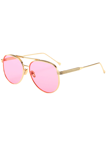Affordable Double Metallic Crossbar Reflective Pilot Sunglasses - CLEAR PINK  Mobile