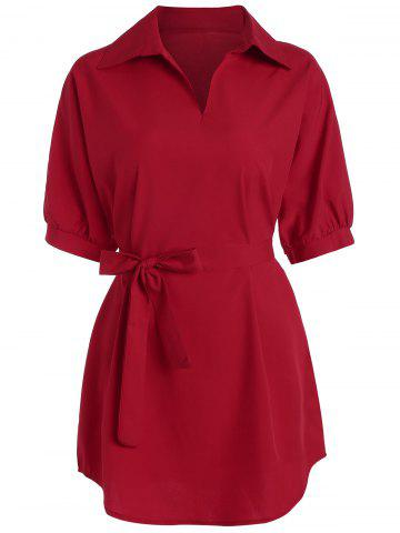 Plus Size Long V Neck Work Shirt with Belt - Red - 5xl
