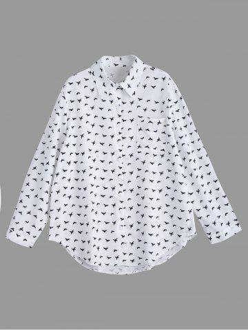 Bird Printed Button Up Plus Size Long Sleeve Shirt - Gray - 4xl