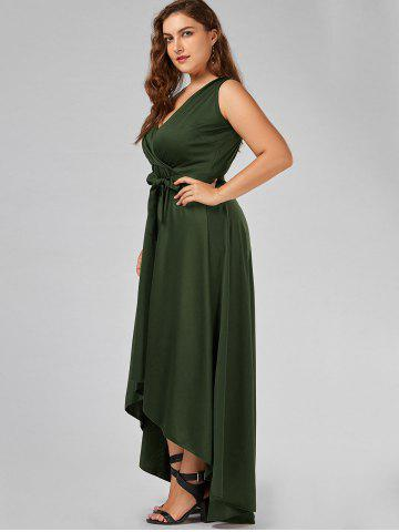 New Plus Size V Neck Maxi High Low Dress - 5XL ARMY GREEN Mobile