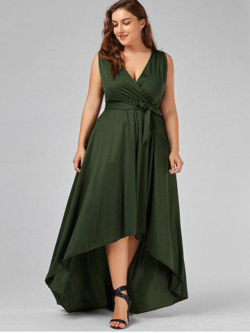 Outfits Plus Size V Neck Maxi High Low Dress - 5XL ARMY GREEN Mobile