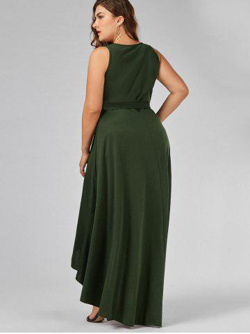 Trendy Plus Size V Neck Maxi High Low Dress - 5XL ARMY GREEN Mobile