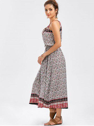 Trendy Spaghetti Strap Tiny Floral Print Dress - ONE SIZE COLORMIX Mobile