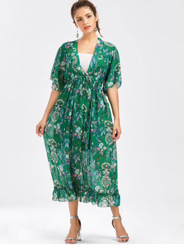 Affordable Tube Top and Flounce Floral Print Dress - ONE SIZE GREEN Mobile