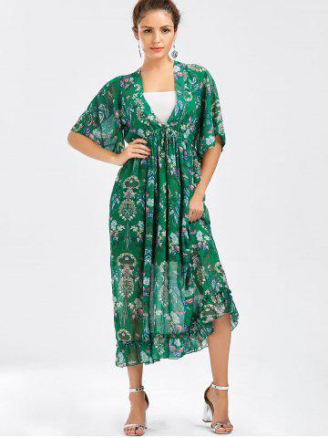 Discount Tube Top and Flounce Floral Print Dress - ONE SIZE GREEN Mobile