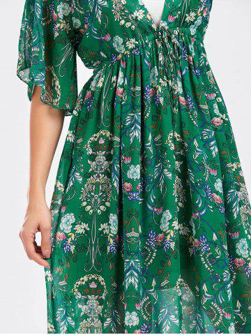 Fashion Tube Top and Flounce Floral Print Dress - ONE SIZE GREEN Mobile