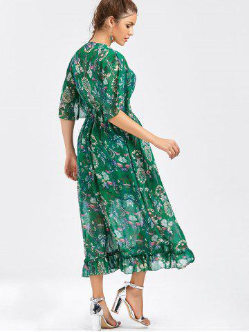 New Tube Top and Flounce Floral Print Dress - ONE SIZE GREEN Mobile