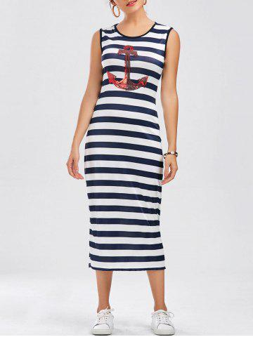 Sleeveless Striped Anchor Print Long Casual Dress - Stripe - S