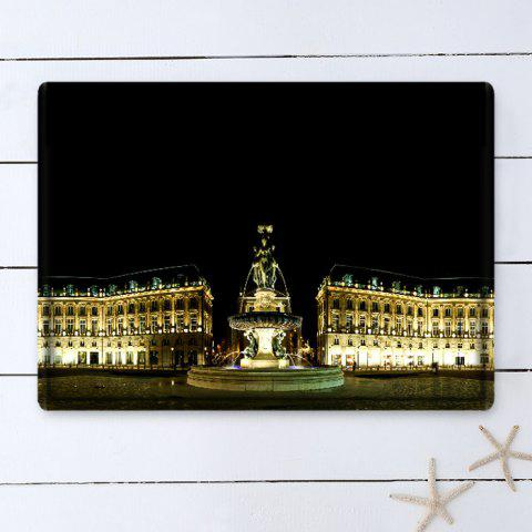 Shop Palace Building Pattern Water Absorbing Bathroom Floor Mat - W16 INCH * L24 INCH BLACK Mobile