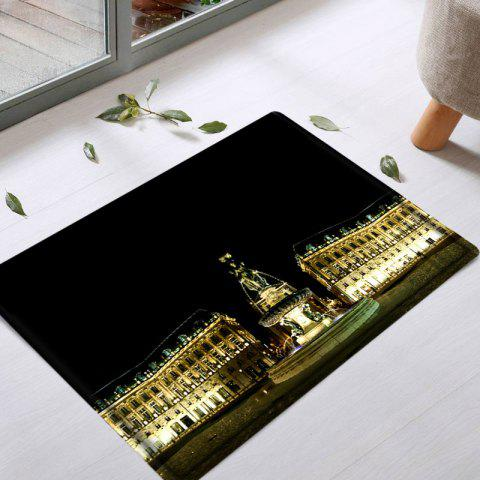 Chic Palace Building Pattern Water Absorbing Bathroom Floor Mat - W16 INCH * L24 INCH BLACK Mobile