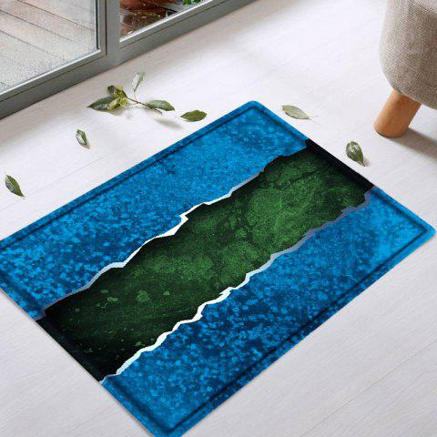Chic Color Block Water Absorbing Bathroom Floor Mat - W16 INCH * L24 INCH BLUE Mobile