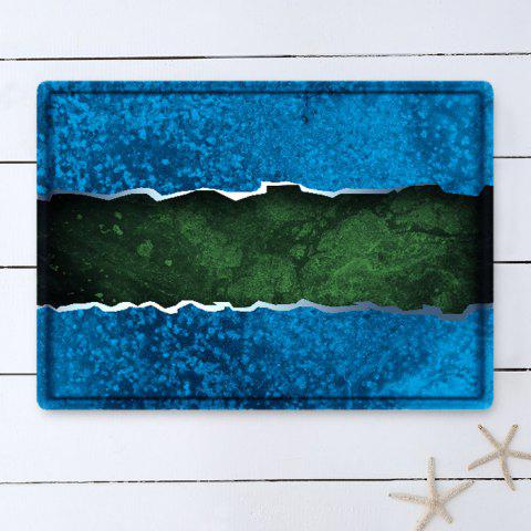 Latest Color Block Water Absorbing Bathroom Floor Mat - W16 INCH * L24 INCH BLUE Mobile