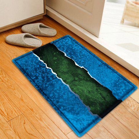 Hot Color Block Water Absorbing Bathroom Floor Mat - W16 INCH * L24 INCH BLUE Mobile
