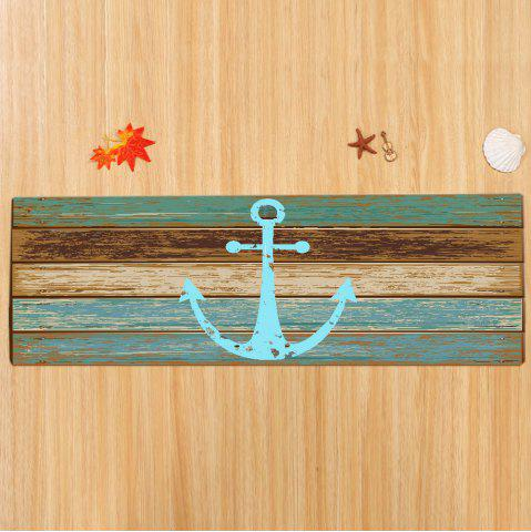 Chic Deck Anchor Pattern Water Absorption Indoor Outdoor Area Rug - W16 INCH * L47 INCH CYAN Mobile