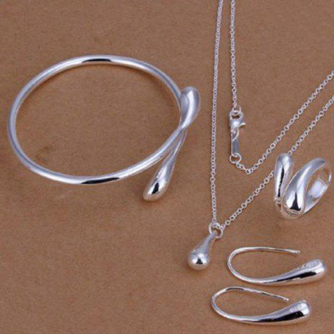 Shops Teardrop Necklace Bracelet Earrings with Ring - SILVER  Mobile