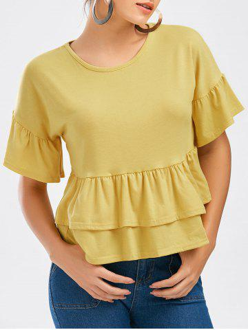 Unique Bell Sleeve Layer Flounce Tee