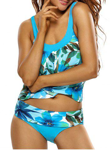 Outfits Spaghetti Strap Floral Tankini Set WINDSOR BLUE M