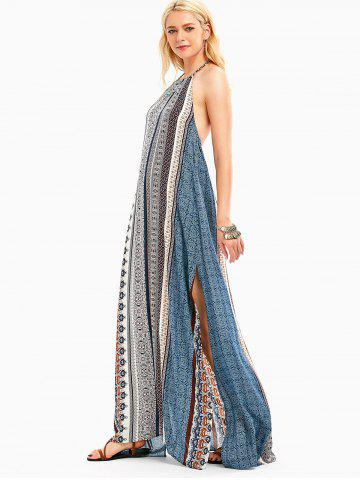 Outfits Bohemia High Slit Halter Backless Maxi Dress - 2XL COLORMIX Mobile