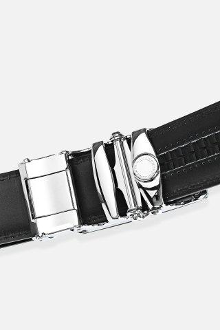 Trendy Polished Perpendicular Line Automatic Buckle Wide Formal Belt - SILVER  Mobile