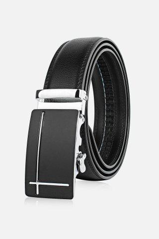 Polished Perpendicular Line Automatic Buckle Wide Formal Belt - Silver - 130cm