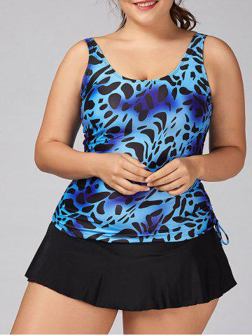 Ensemble Cheisseh Plus Size Skirt Tankini Bleu 3XL