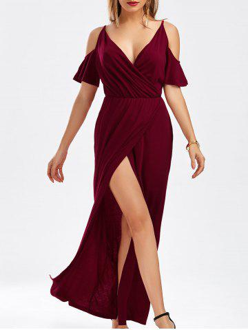 Chic Cold Shoulder Thigh High Slit Maxi Dress WINE RED L