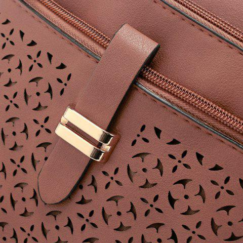 New Hollow Out PU Leather Crosbody Bag - LIGHT BEIGE  Mobile