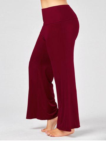 Best Plus Size Maxi High Rise Palazzo Pants - 3XL DEEP RED Mobile