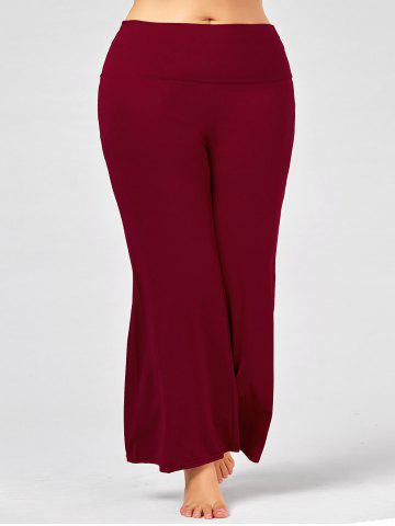 Hot Plus Size Maxi High Rise Palazzo Pants - 3XL DEEP RED Mobile