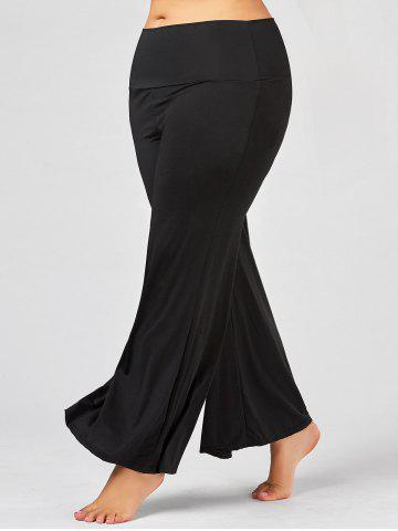 Plus Size Maxi High Rise Palazzo Pants - Black - 2xl