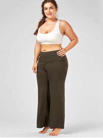 Best Plus Size Maxi High Rise Palazzo Pants - 3XL ARMY GREEN Mobile