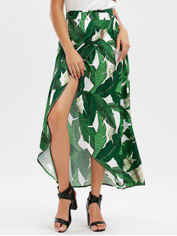 Chic High Slit Tropical Leaf Print Wrap Skirt - L GREEN Mobile