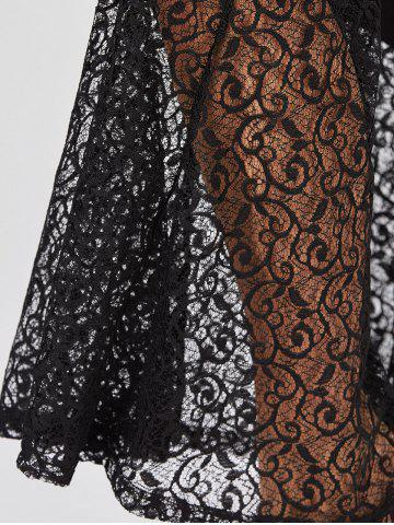 Buy Plus Size Lace Crochet Panel Bell Bottom Pants - XL BLACK Mobile