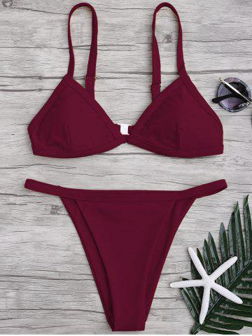 Spaghetti Straps String High Cut Two Piece Swimsuit - Burgundy - S