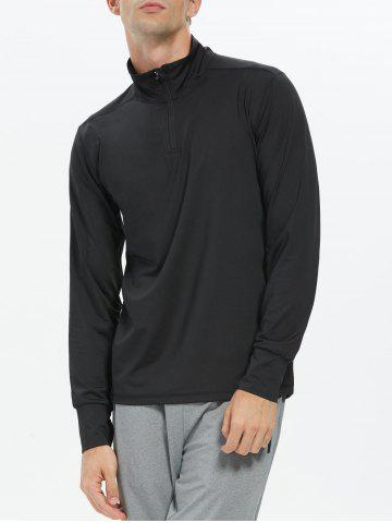 Half Zip Stand Collar Long Sleeve Top - Black - M