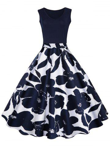Online High Waisted Printed Vintage Dress - S CERULEAN Mobile