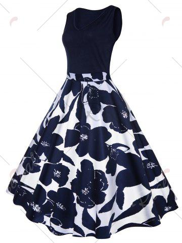 Latest High Waisted Printed Vintage Dress - S CERULEAN Mobile