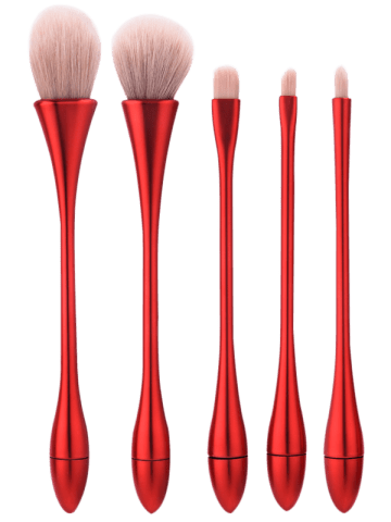 Store 5Pcs Waterdrop Waisted Makeup Brushes Set - RED  Mobile