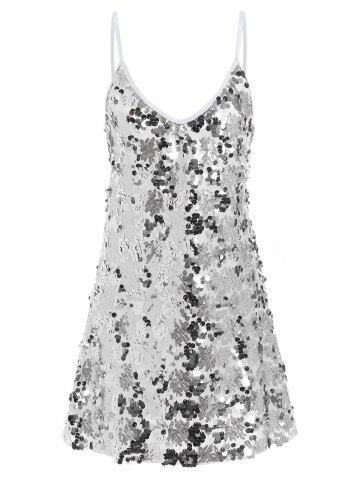 Chic Sequin Glitter Shiny Slip Club Dress - M SILVER Mobile
